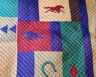 """$75 Heritage Colorful horse themed hand stitched quilt 100"""" by 88"""""""