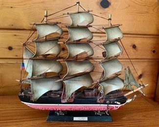 """$40 Model ship painted wood 17"""" wide by 15 """" tall"""