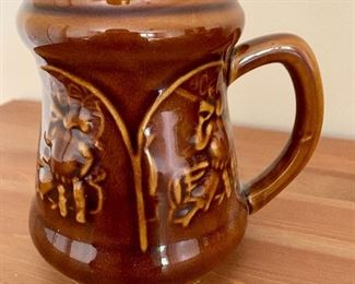 $20 Brown glossy stein 5 inches high , 3 inches inside diameter