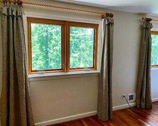 $50 per panel - 4 panels lined draperies sage colored  80 inches long by 48 inches wide. Hardware not included.
