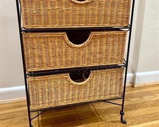 """$30 Wicker black wrought iron storage chest L18"""" by 26""""H by 12"""" deep"""