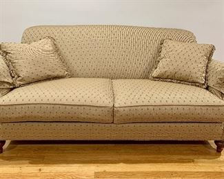 "$425 Ethan Allen two cushion sofa with rolled arms and back 80"" L by 45"" deep and 29"" high"