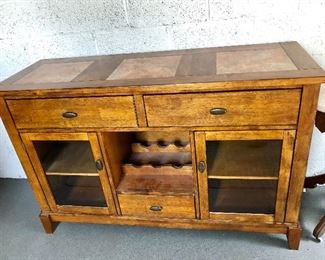 """$350 Rustic buffet/wine holder 54.5 inches long by 36"""" wide by 19"""" depth"""