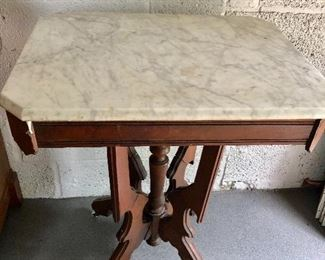 """$80 Classic marble top table  AS IS 24"""" Long by 18"""" W by 30"""" H"""