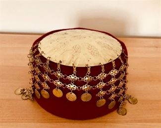 $20 Burgandy and gold disc fez hat