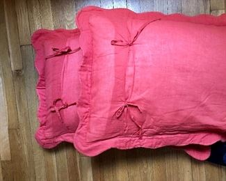 Red color back of pillows