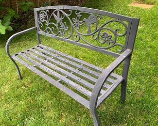 $225 Aluminum bench with hummingbird detail