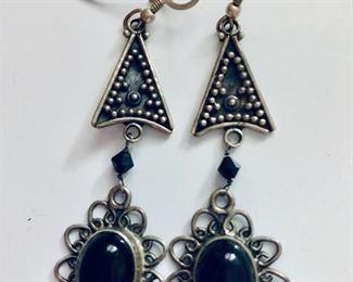 $15 Long black stone earrings