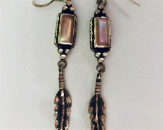 $40 Sterling silver and mother of pearl feather earrings signed