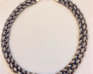 $160  Sterling silver braided necklace