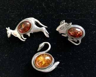 $28 Lot 3 amber animal pins
