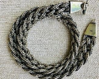 $160  Detail sterling silver braided necklace