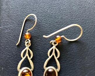 $20 Amber silver earrings