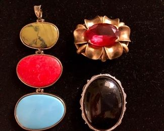 """$ 20 each.  Pendant and two pins.  Red glass pin signed """"Slovakia"""" 3 stone pendant sold"""