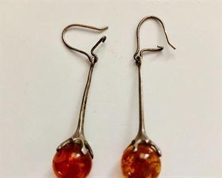 $20 Amber silver drop earrings