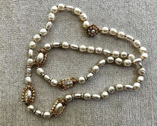 $225 Miriam Haskell Single strand Baroque pearl and rhinesttone necklace 28 inches long