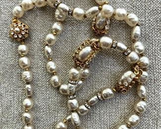 Detail baroque pearl and rhinestone necklace 28 inches long