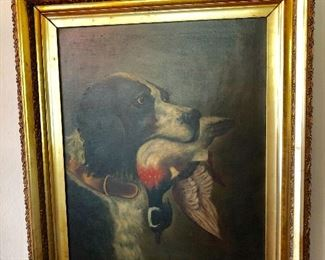 """$395 Painting Hunting Dog with bird signed 27"""" H by 24"""" W"""