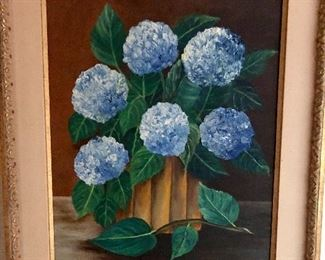 """$100 Floral painting Hydrangea signed Eckjer 30"""" high by 24"""" wide"""