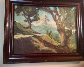$300 Mountain scene signed 24 inches wide by 21 inches high Signed Mila