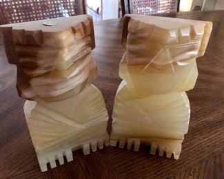"""$50 Alabaster made in Mexico bookends  6"""" H by 3.5 inches wide by 2 inches deep"""