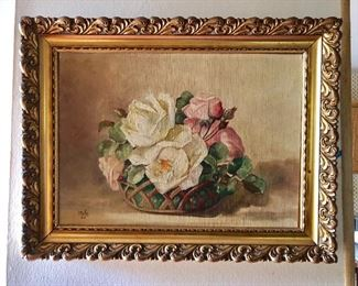 """$160 signed Floral painting  24"""" wide by 16.5 """" High"""