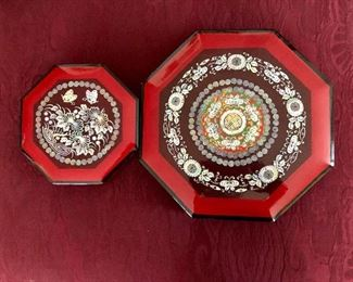 $80 2 Octagonal mother of pearl inlaid boxes Large 11.5 inches wide, Medium box 7.5 inches wide