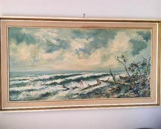 $100 Ocean beach scene signed