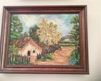 $75 Signed scenic house, road, painting