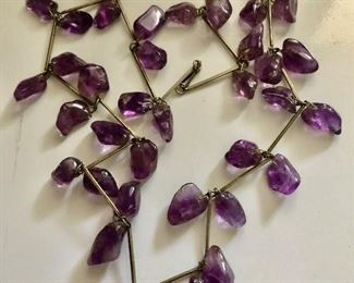 $45 Long strand amethyst necklace