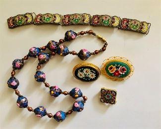 $90 Lot Italian wedding cake bead necklace , micro mosaic and mosaic jewelry