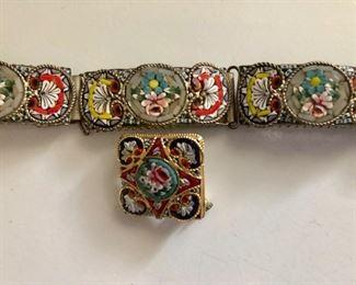 Detail Micromosaic bracelet and pin