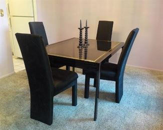 Dining set, 4 Chairs, glass top  $150