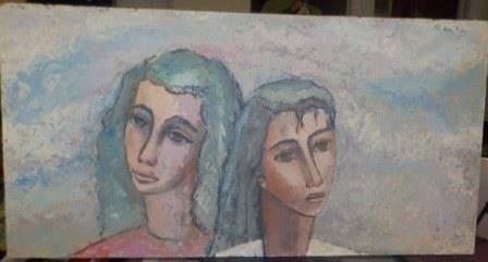 "Hilda Rubin Oil Painting, Unframed, signed upper right 28"" x 14"".  $150"