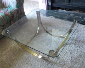 Coffee Table,  36 in square glass on stainless steel  $50