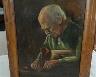 Cobbler oil painting, unsigned.  $45