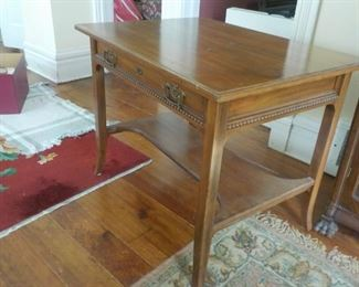 """Antique walnut library table. 36"""" x 27"""".   $100"""