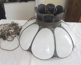 Slag glass hanging lamp $35