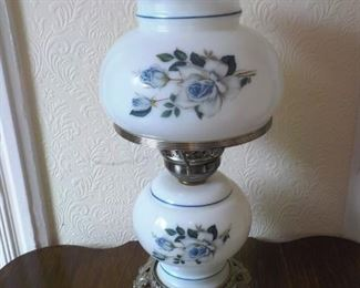 "Blue Flower lamp.  18"" high.   $20"
