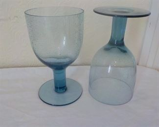 "Set 17 lg. bubbled blue glasses, 7"" tall.  $30 set"