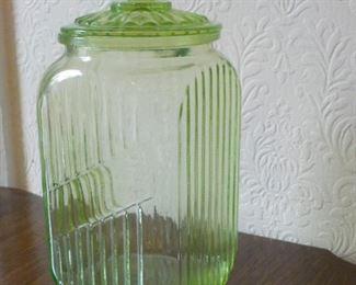 Vintage vaseline ribbed glass canister c.1930. $25