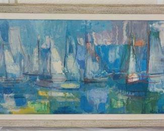 "Hilda Rubin oil painting sail boats. 19"" x 17"".  $235"