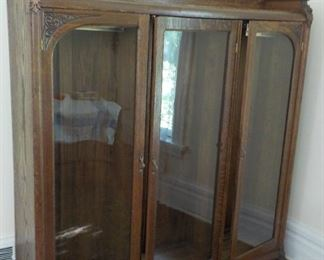 """Antique oak display or book case. 66"""" h. 58"""" w.  $485"""