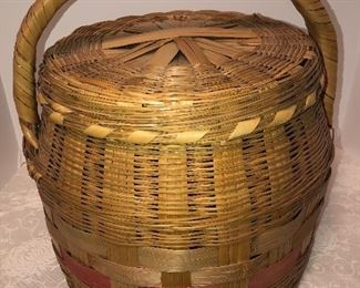 Lot 19C, Nice large covered basket, $28