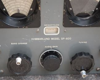 R1   Hammarlund Model SP-600 US Army Radio Receiver (missing outer shell, does power on but full functionality unknown) and Atlas Sound Speaker.    $595.00