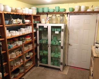Jadeite galore, McKee in vintage Carswell AFB medical cabinet.  Tons of Fireking and vintage kitchen.