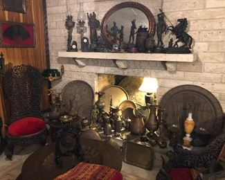Antique and vintage sculptors, garnitures, 2 Jewish Moroccan brass trays with star of David, Persian, Indian, Turkish, Middle Eastern brass trays, Pitchers-ewers, pots, and more.