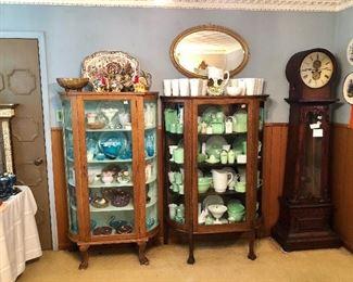 Antique grandfather clock.  Jadeite and milk glass, Fenton and colored glass.