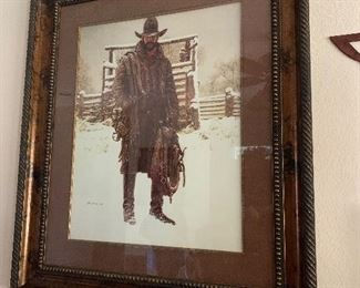 $225 ~ JAMES BAMA FRAMED COWBOY