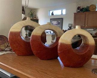 $ 75- set  of three  earth tone vases